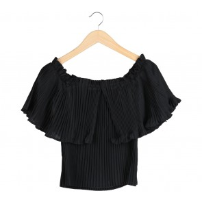 Herspot Black Bardot Pleated Blouse