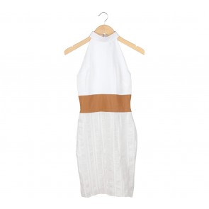 Rakriz White And Brown Sleeveless Mini Dress