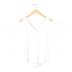 Paulina Katarina White Criss Cross Sleeveless Blouse