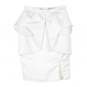 Clementine White Peplum Midi Skirt