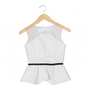 Mosepick White Peplum Sleeveless Blouse