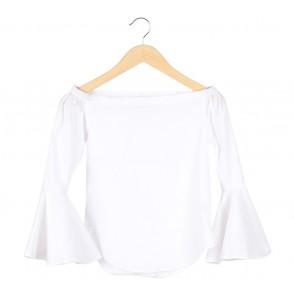 Paulina Katarina White White Bardot Bell Sleeves Blouse