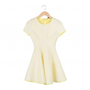 Klarra Yellow With White Flower Mini Dress
