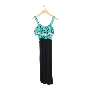 Black And Green Polka Dot Sleeveless Midi Dress