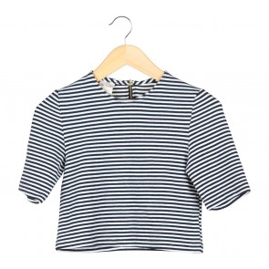 Petite Cupcake Black And White Striped Cropped Blouse