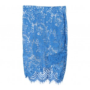 Tuulla Blue And Cream Floral Lace Asymmetric Skirt