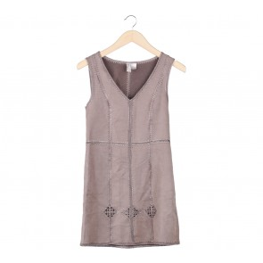 Divided Brown Sleeveless Mini Dress