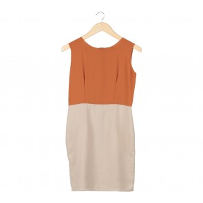 Shop At Velvet Cream And Brown Sleeveless Midi Dress