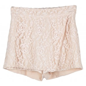 Cream Floral Lace Skort Pants