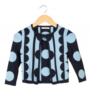 Nikkie Dark Blue And Blue Polka Dot Cardigan