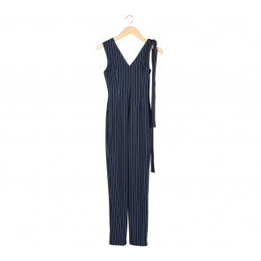 Love, Bonito Dark Blue And White Striped Tied Jumpsuit