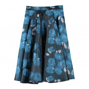 Dark Grey And Blue Floral Skirt