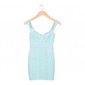 Paulina Katarina Green And White Sleeveless Mini Dress
