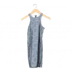 Paulina Katarina Grey Floral Lace Sleeveless Mini Dress