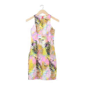 Multi Colour Abstract Sleeveless Midi Dress