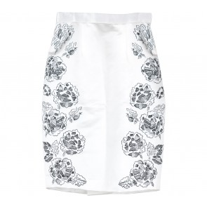 Sissae Off White And Black Floral Embroidery Skirt