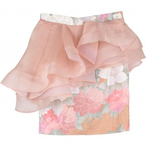 Peach Floral Peplum Skirt