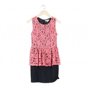 Pink And Black Floral Peplum Midi Dress