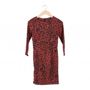 Topshop Red And Black Leopard Midi Dress