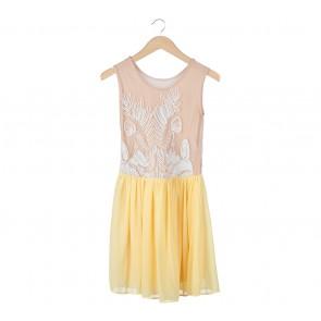 Yellow And Cream Sleeveless Midi Dress