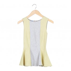 Yellow And Grey Peplum Blouse