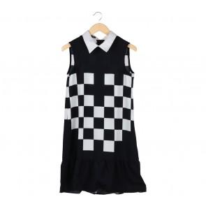 Jaasiel Dark Blue And White Plaid Midi Dress