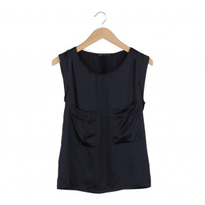 Zara Black Satin Pocket Blouse