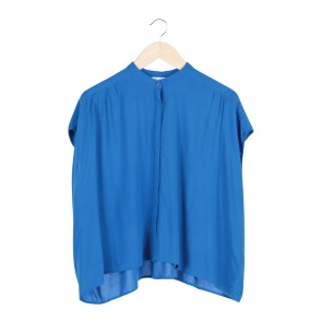 Zara Blue Sleeveless Blouse