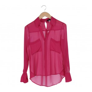 BCBG Pink Pocket Chiffon Shirt