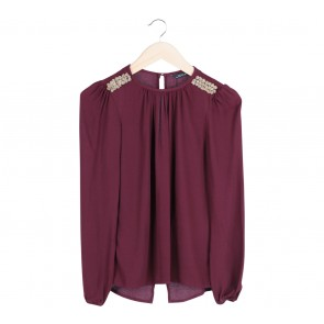 Zara Red Shoulder Details Blouse
