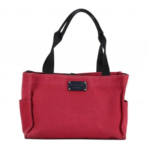 Kate Spade Red Black Trim  Canvas  Handbag