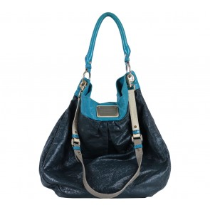 Marc Jacobs Black Blue Trim  Crunched Leather  Handbag