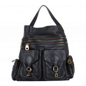Marc Jacobs Black Pocket Gold Zipper  Leather Handbag