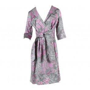 Etoile D´Elfas Dark Grey And Purple Floral Wrap Mini Dress