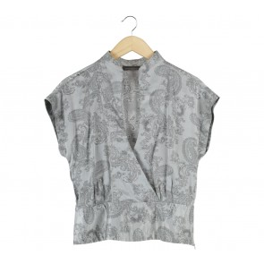 Vesperine Grey Patterned Wrap Blouse
