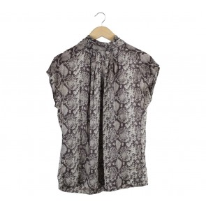 Zara Grey And Dark Grey Snakeskin Blouse