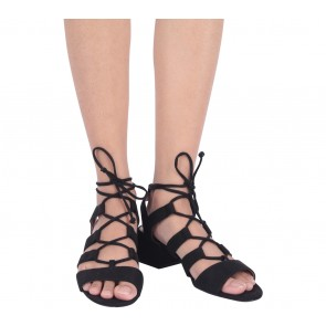 Christian Siriano Black Lace Up Heels