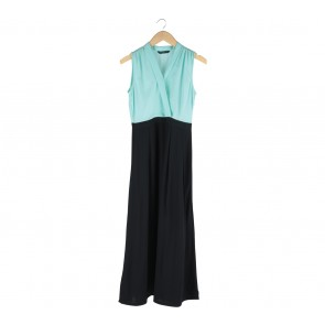 Contempo Black And Turquoise Long Dress