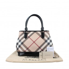 Burberry Cream And Black Nova Check Shoulder Bag
