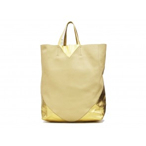 Celine Cream And Gold Cabas Tote Bag