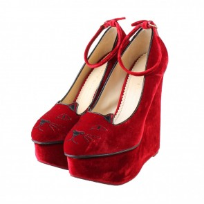 Charlotte Olympia Red Kitty Wedges