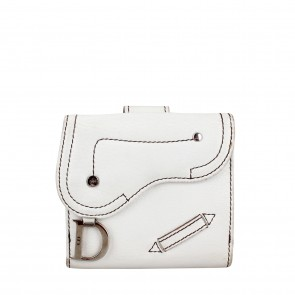 Christian Dior White Leather Wallet