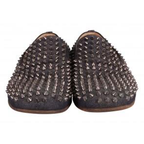 Christian Louboutin Blue Denim Spiked Dandelion Venetian Loafers
