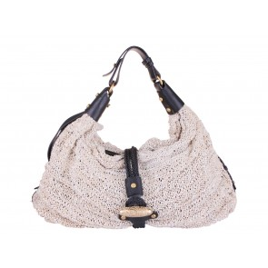 Etro Profumi Cream Leather Knit Shoulder Bag