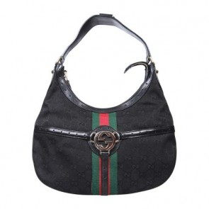 Gucci Black Web Monogram Shoulder Bag