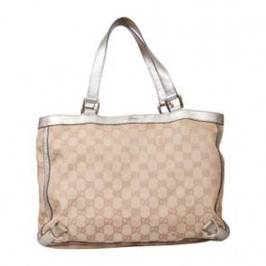 Gucci Brown Web Monogram with Leather Trim Tote Bag