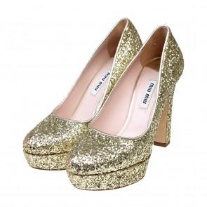 Miu Miu Gold Calzature Donna Zeppe Heels