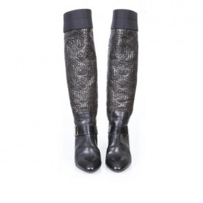 Louis Vuitton Brown And Black Monogram Embossed Wedge Boots