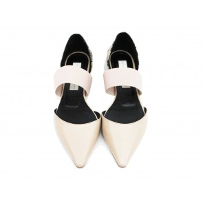 Stella McCartney Nude Pointy Flats with Elastic Band Heels