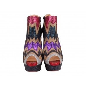 Christian Louboutin Multi Colour Ziggy 150mm Glitter Platform Ankle Boots